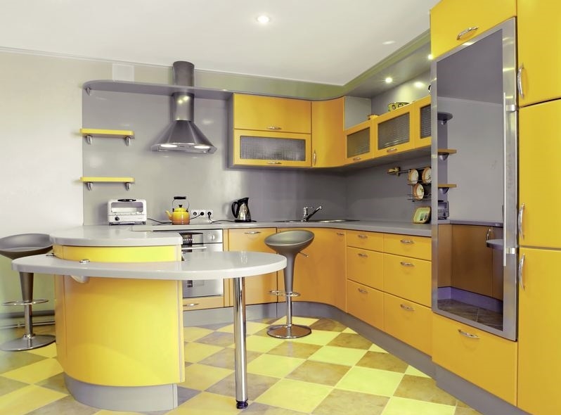 kitchen-cabinets-modern-yellow-009a-s50038732x2-curved-peninsula-seating-glass-doors