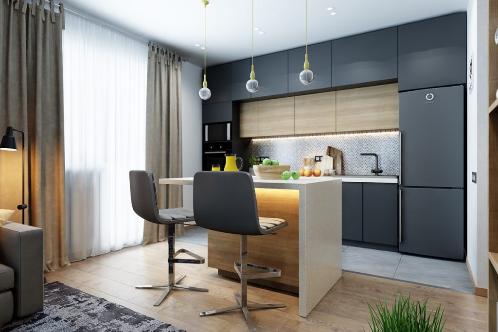 charcoal-and-wood-kitchen-studio-apartment