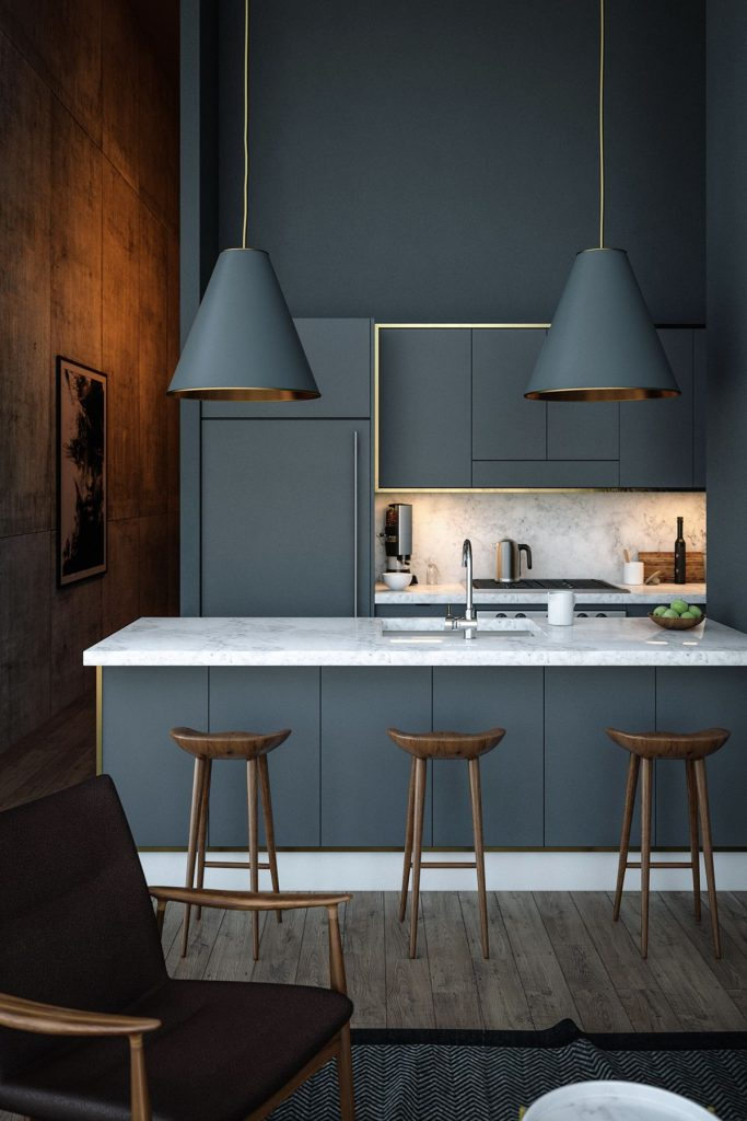 grey-blue-kitchen-copper-hanging-lights