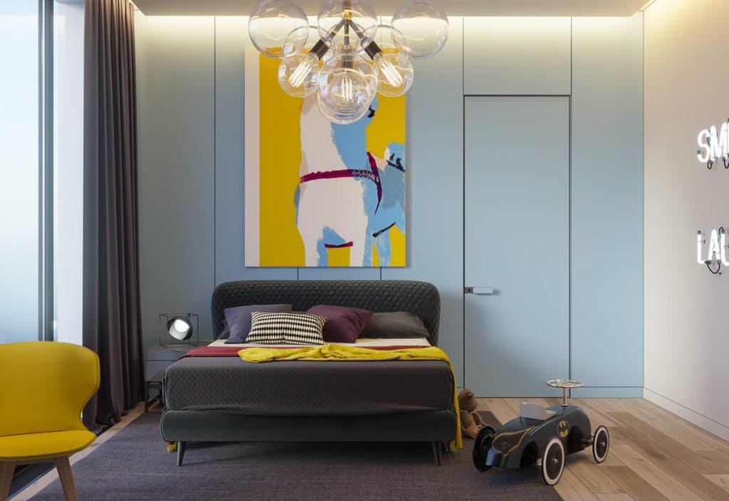 Blue-yellow-bedroom