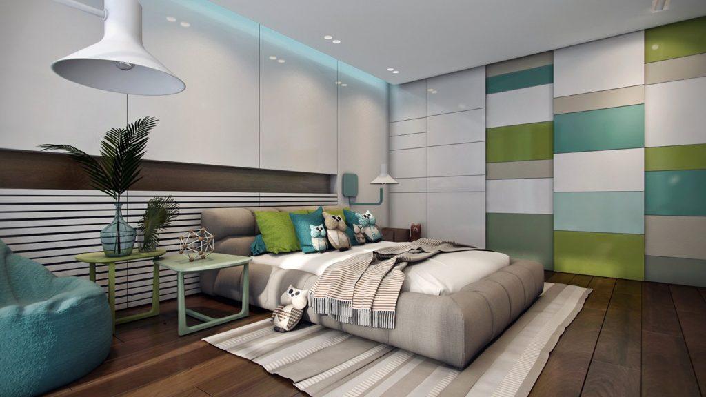 Green-white-bedroom-decor