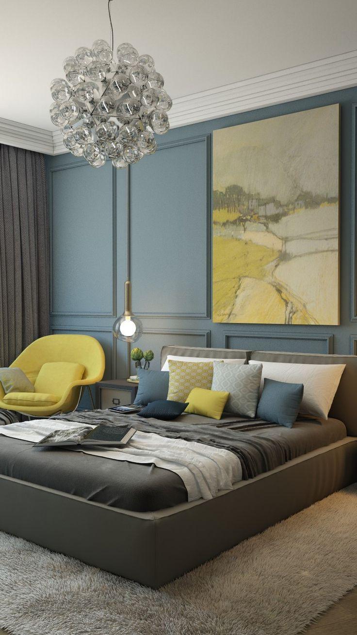 Спалня в синьо: как да създадете топъл и приветлив интериор в студени нюанси
