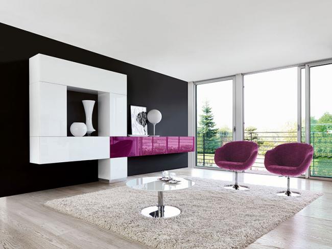 Гланцирани мебели за дневна: придават интериорен акцент и специален блясък