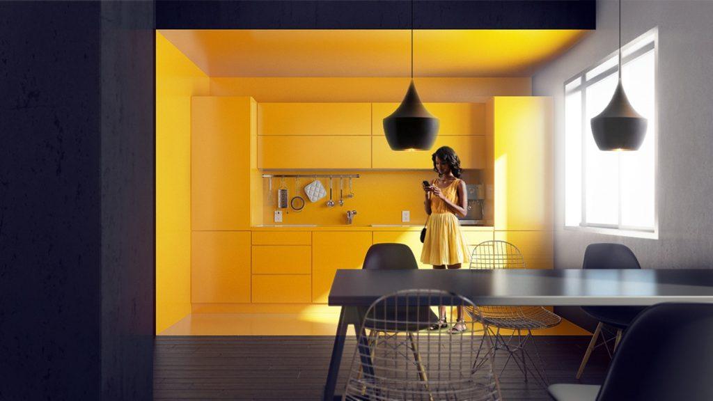 monochromatic-yellow-kitchen